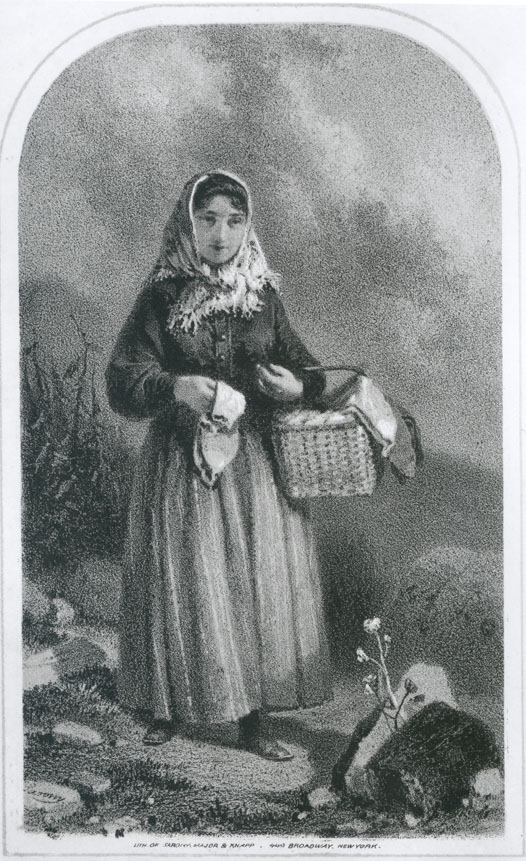 Acadian woman, Chezzetcook, with basket of eggs and hand-knit woolen socks