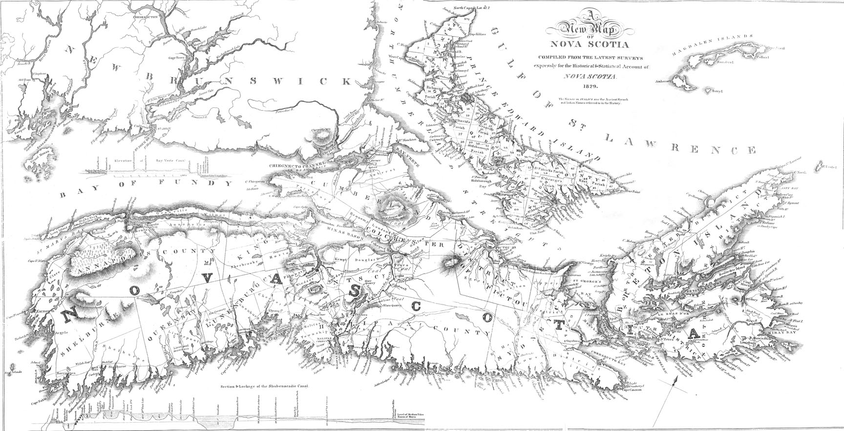 Africanns : A New Map of Nova Scotia, compiled...for the Historical & Statistical Account of Nova Scotia