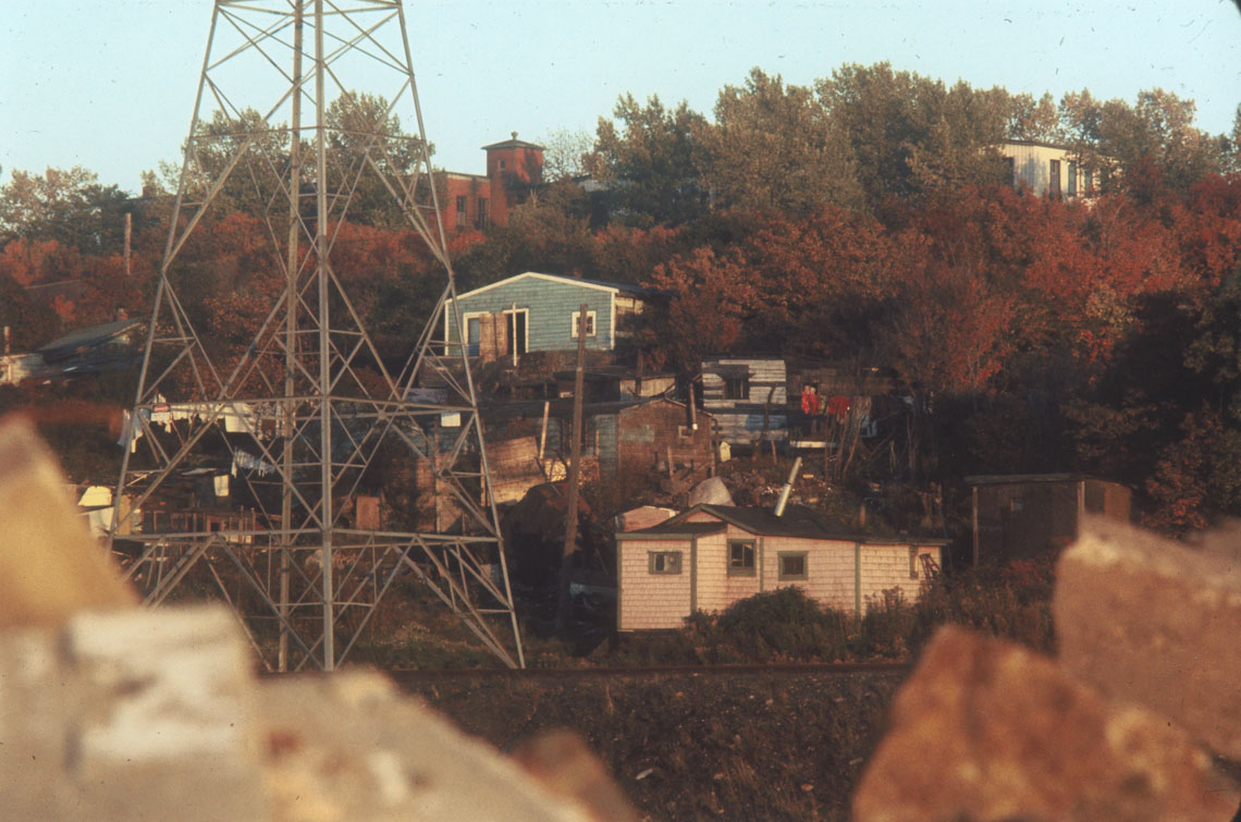 Africville houses in autumn, photographed from edge of Halifax city dump