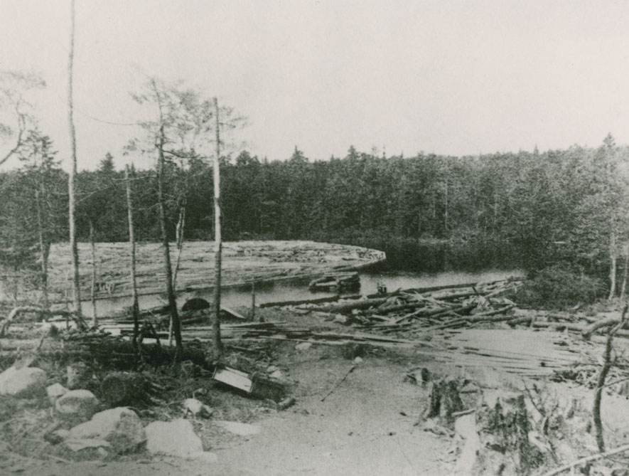 Shallow dam with boomed logs – Nova Scotia