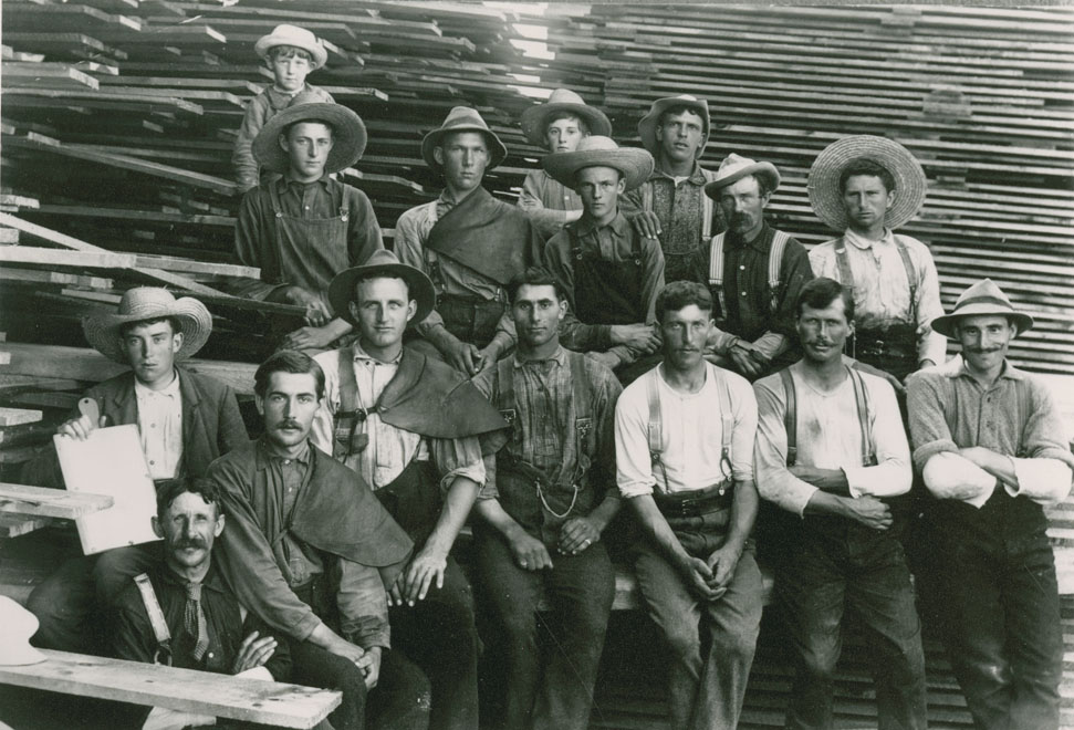 Unidentified sawmill crew (note the deal carriers with padded shoulders) – (at Hantsport?), Nova Scotia