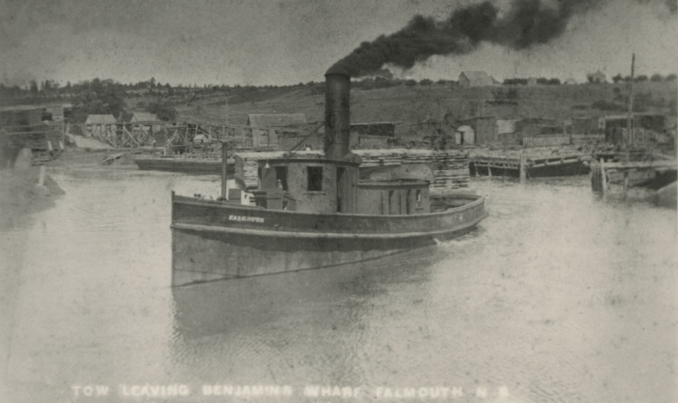 Tugboat leaving Benjamin's wharf – Falmouth, Nova Scotia