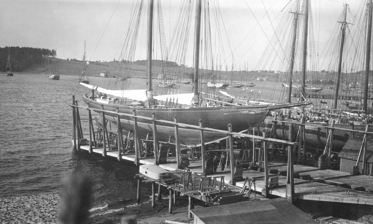 <i>Bluenose</i> docked before race, 1921