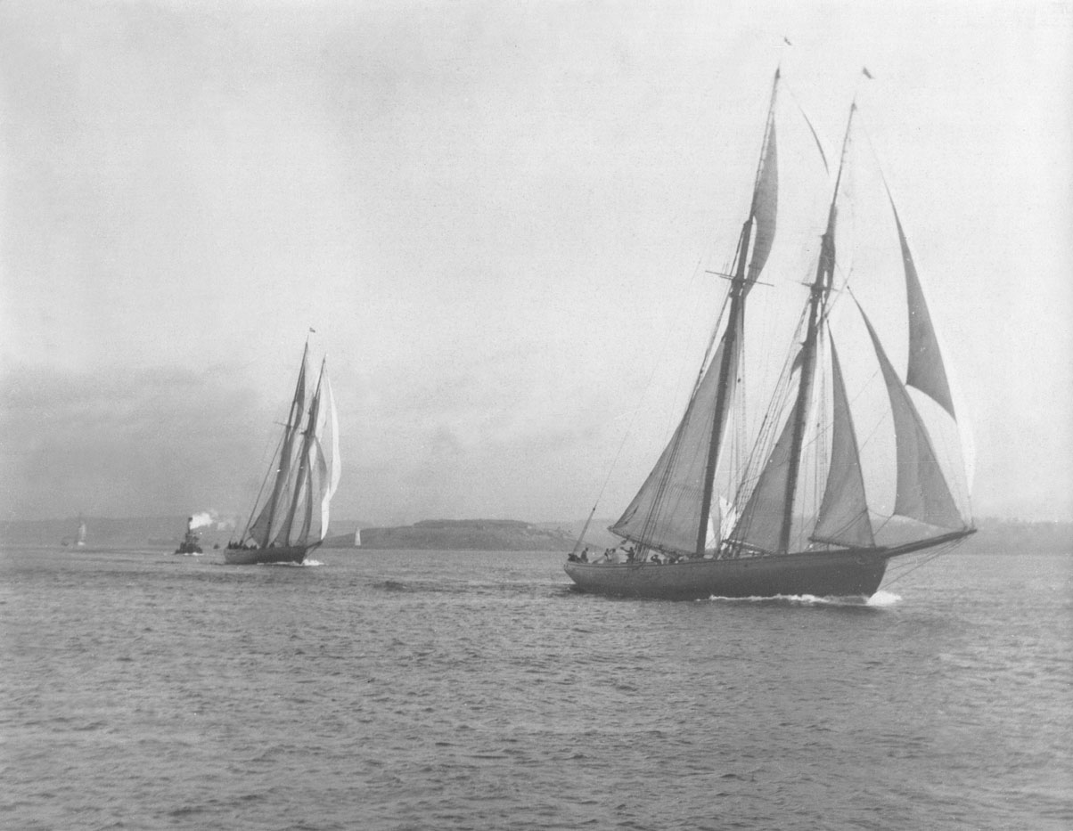 Schooner racing off Georges Island, Halifax Harbour, 1921