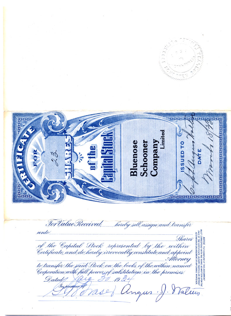 Share Certificate, Bluenose Schooner Company, Limited