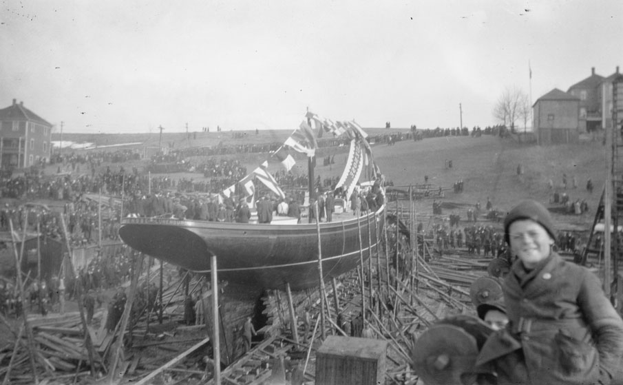 Launch day, 26 March 1921, Smith & Rhuland Yard, Lunenburg, NS