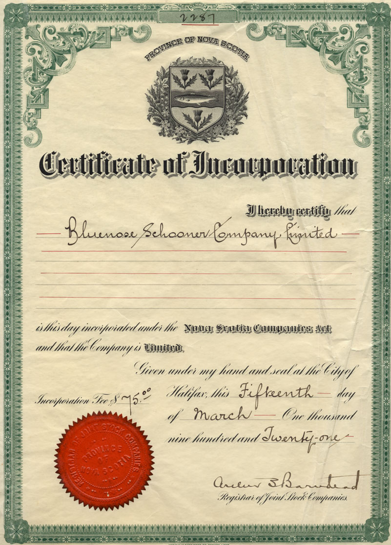 Certificate of Incorporation, Bluenose Schooner Company, Limited