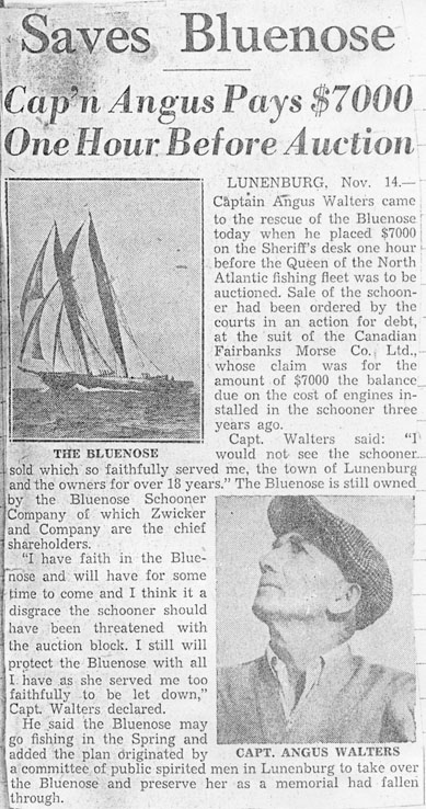 Saves <i>Bluenose</i>:  Cap'n Angus Pays $7000 One Hour Before Auction