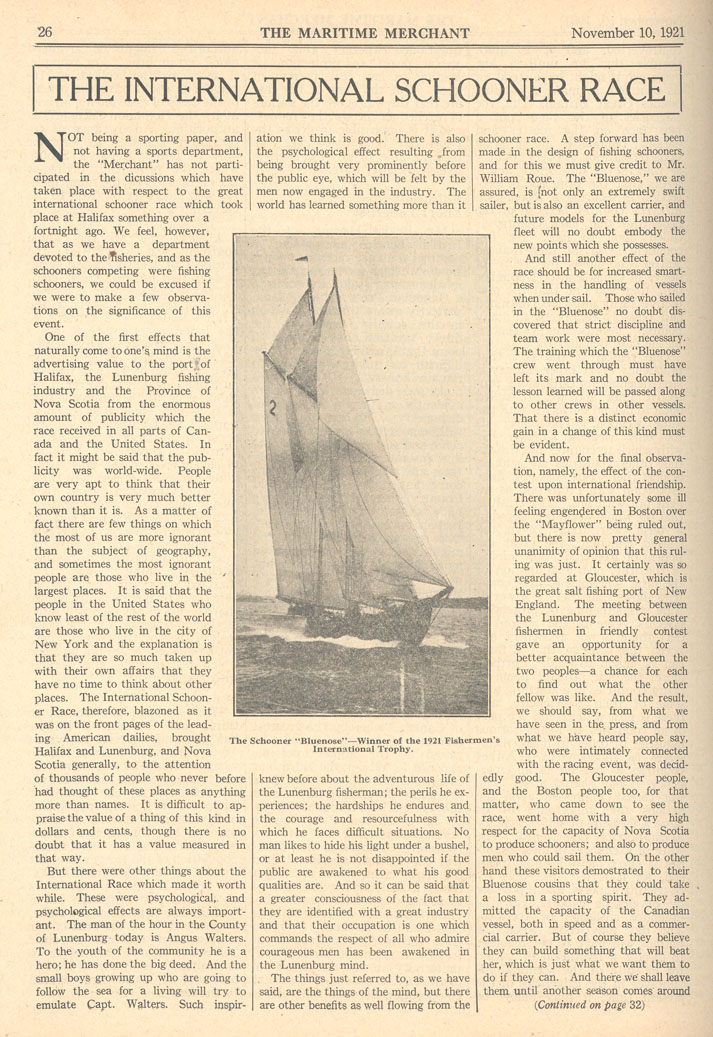 The International Schooner Race