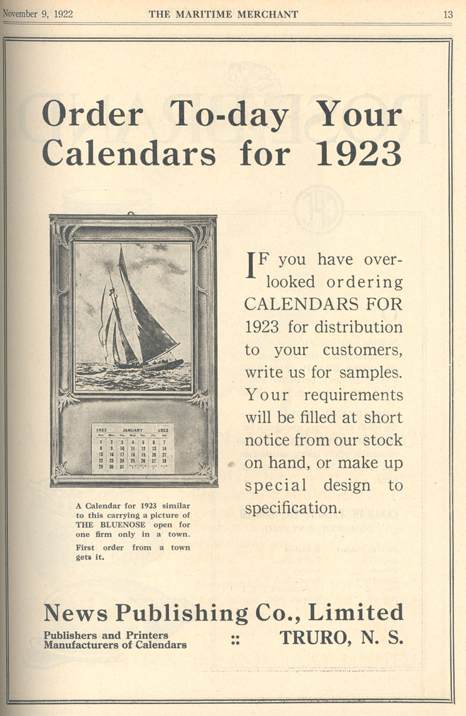 Order To-day Your Calendars for 1923