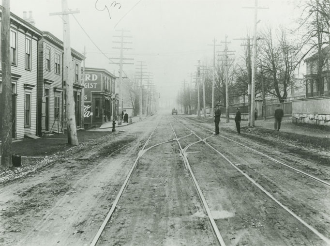 Builtheritage : Looking South on Campbell Road (Later Barrington Street) Towards the Corner of East Young Street, Halifax, Prior to 1917 Explosion