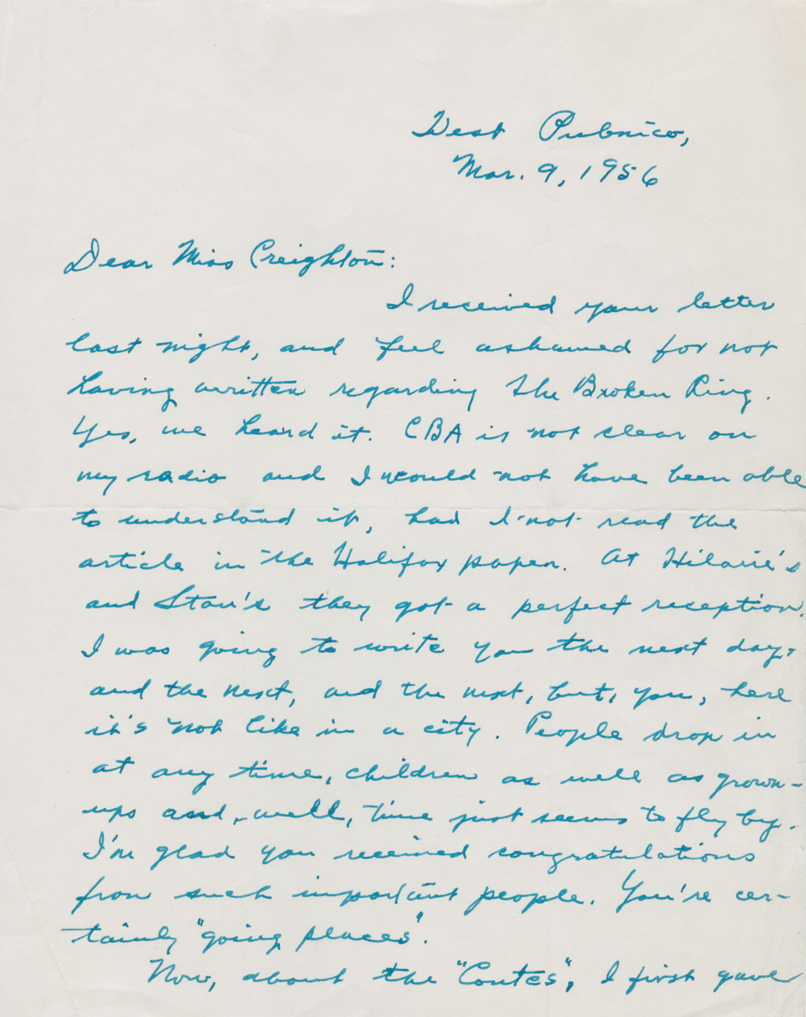 Letter from Laura McNeil of West Pubnico on 9 March 1956