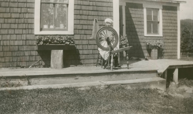 Mrs. McInnes, Britoncove and spinning wheel
