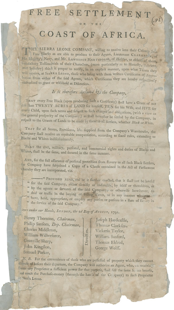 Declaration of the Sierra Leone Company of their readiness to receive into their Colony certain Free Blacks.