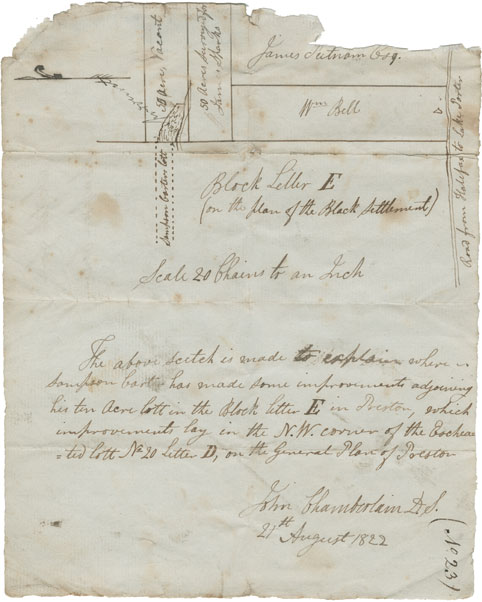 John Chamberlain's sketch of lands in or near to Block Letter E on plan of Black settlement at Preston. Sampson Carter improvements.