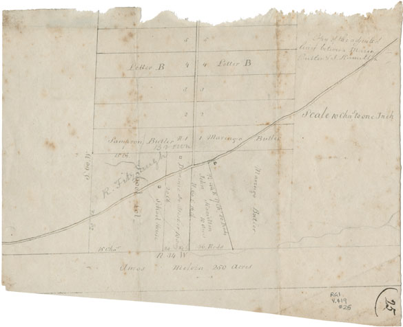 Plan by George Brehm of lines settled between Butler and Hamilton at Hammonds Plains.