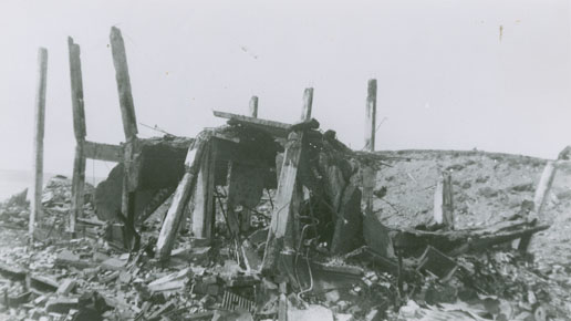 Damaged south jetty machine shop, Bedford Magazine Explosion