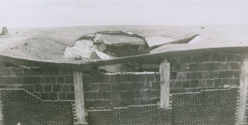 Hole made bu depth charge in the Ammunition storage house, Bedford Magazine Explosion