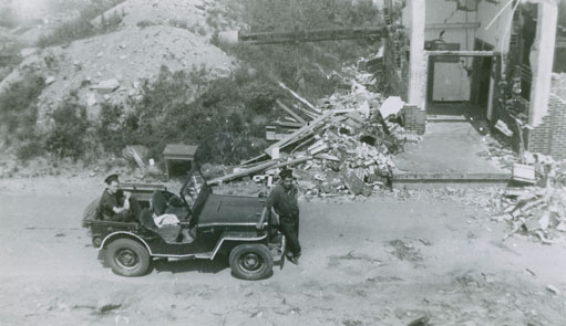 EastCoastPort : Navy jeep at the destroyed Ammunition packing house, Bedford Magazine Explosion