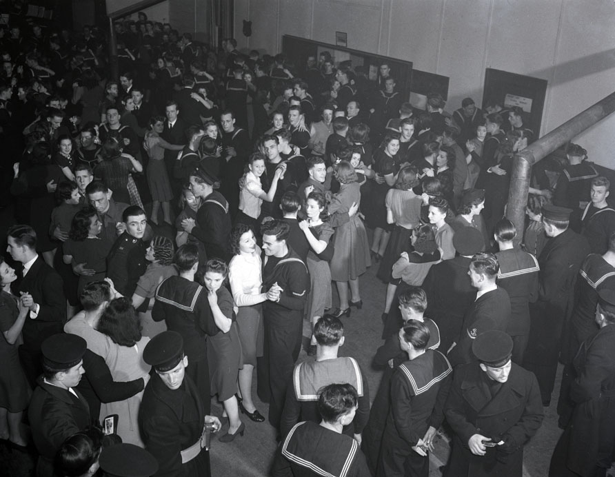 Naval personnel at movie theatres, dances