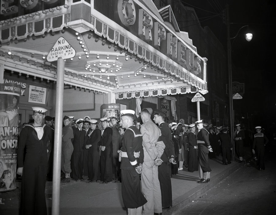 Service personnel and civilans at Orpheus movie theatre Barrington Street, Halifax dances