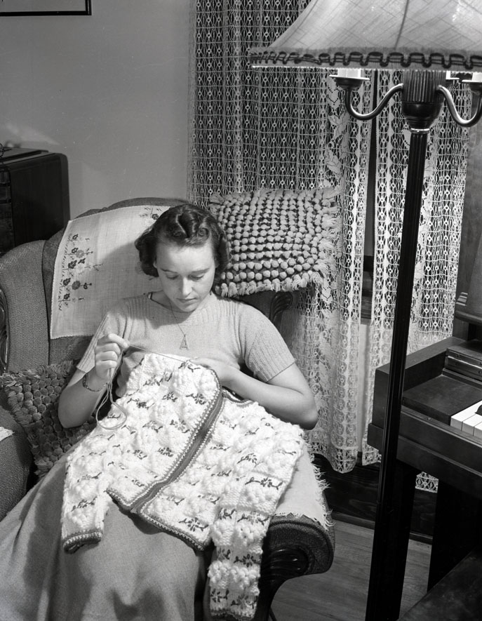 Woman crocheting