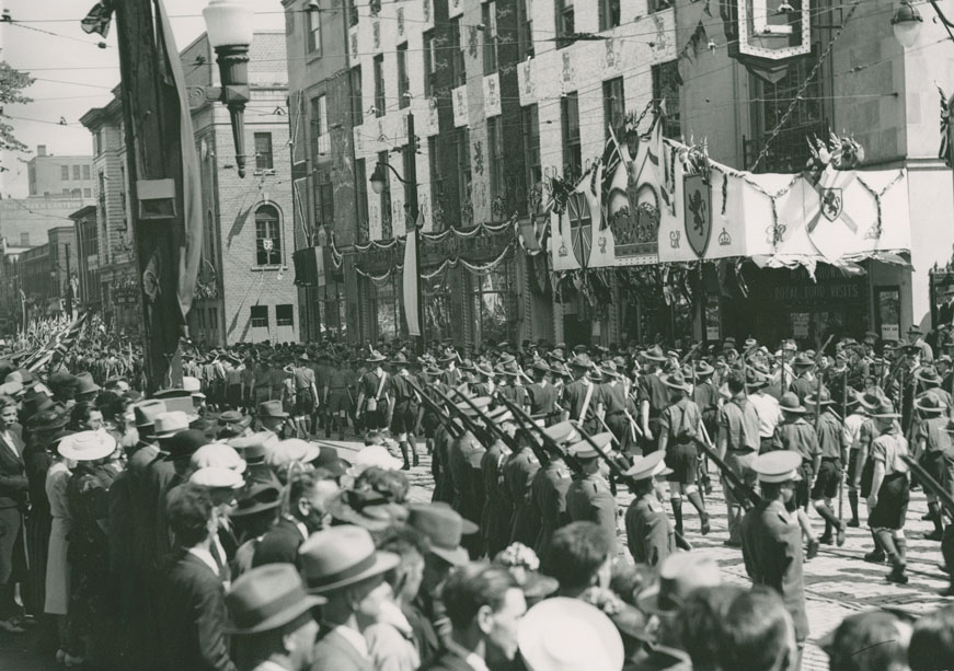 Barrington Street Near Corner of Spring Garden Road During Visit of King George and Queen Elizabeth to Halifax