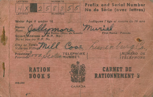Ration Book 3 belonging to Muriel Jollymore