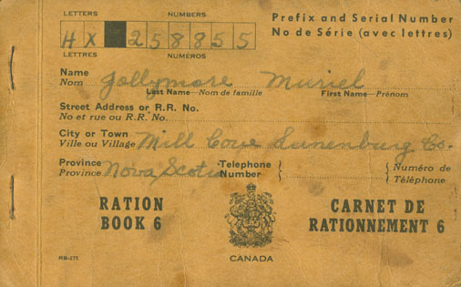 Ration Book 6 belonging to Muriel Jollymore