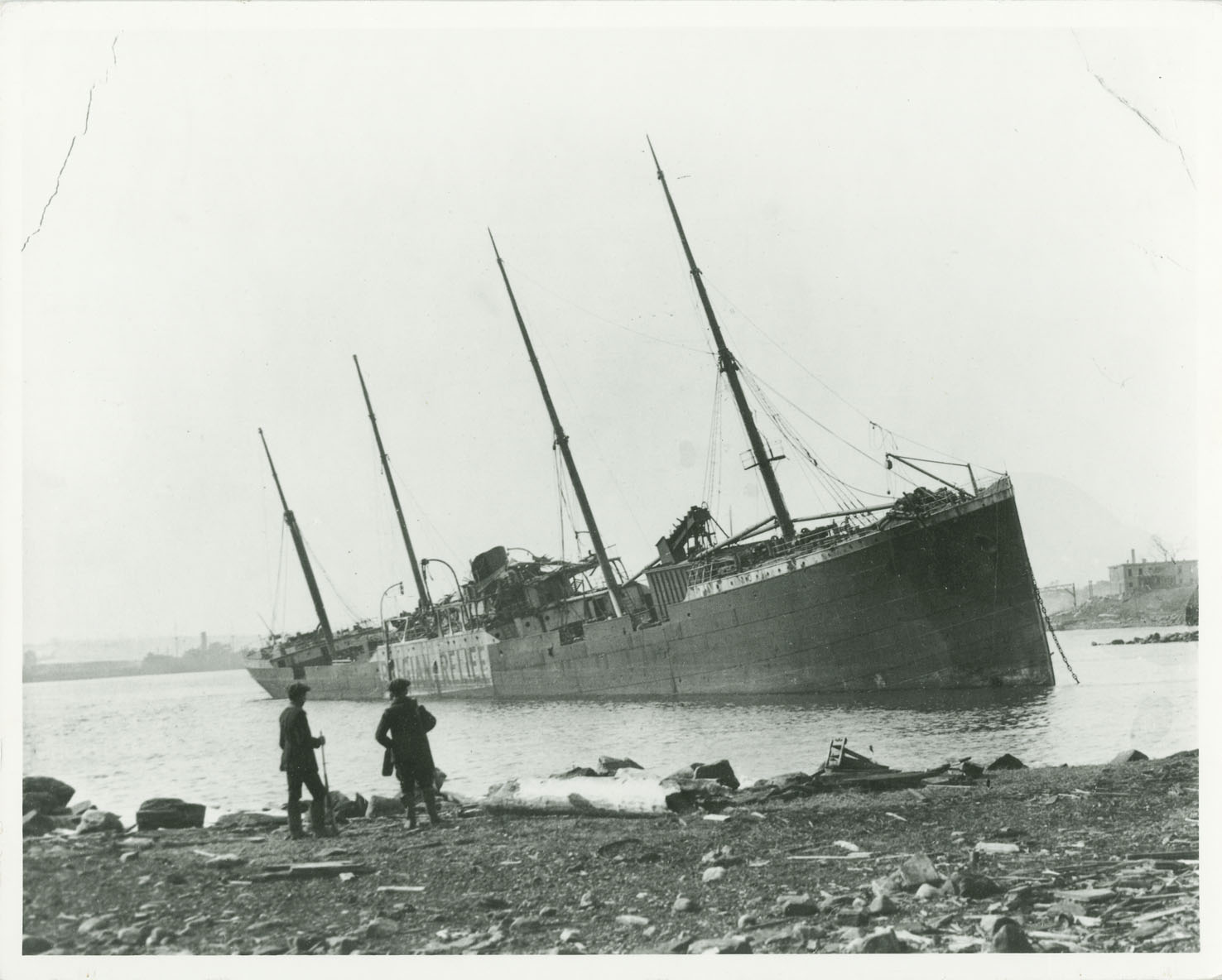 Norwegian steamship  <I>Imo</I> beached on Dartmouth shore after the explosion