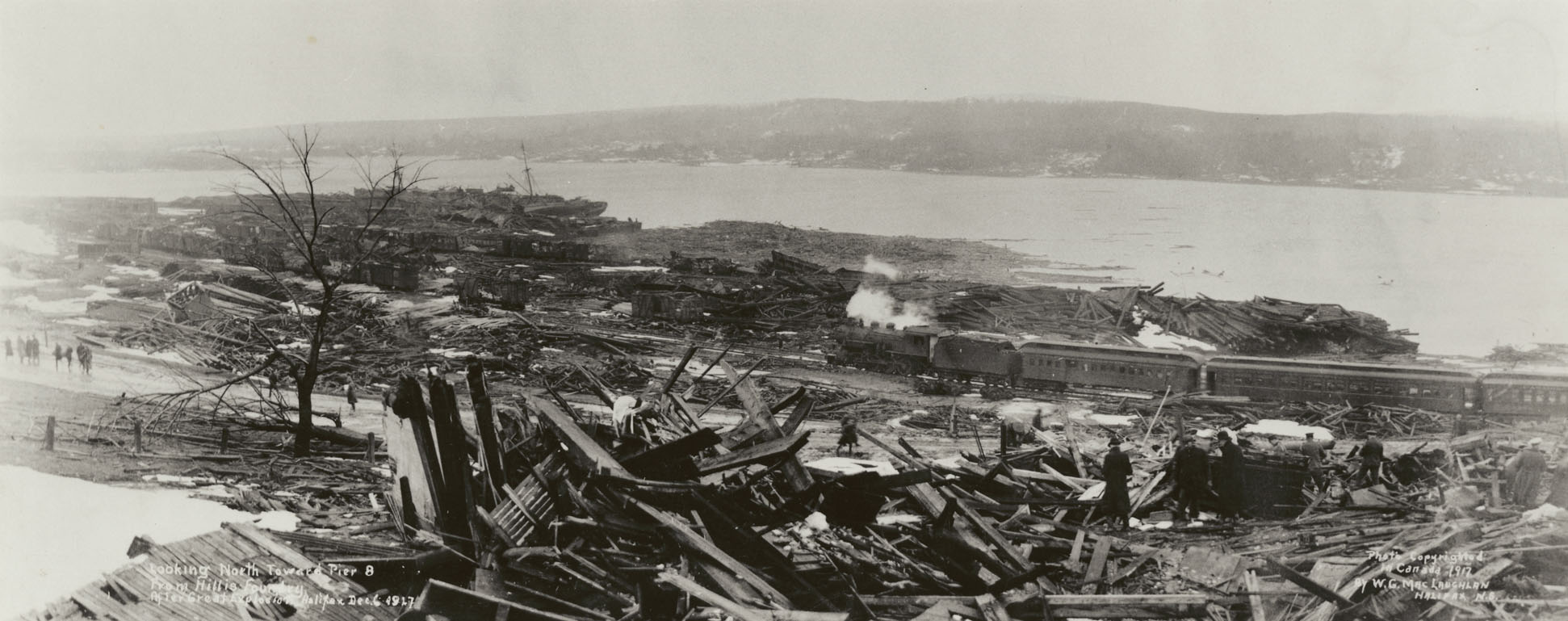 Explosion : Looking north toward Pier 8 from Hillis foundry after great explosion, Halifax, Dec. 6, 1917