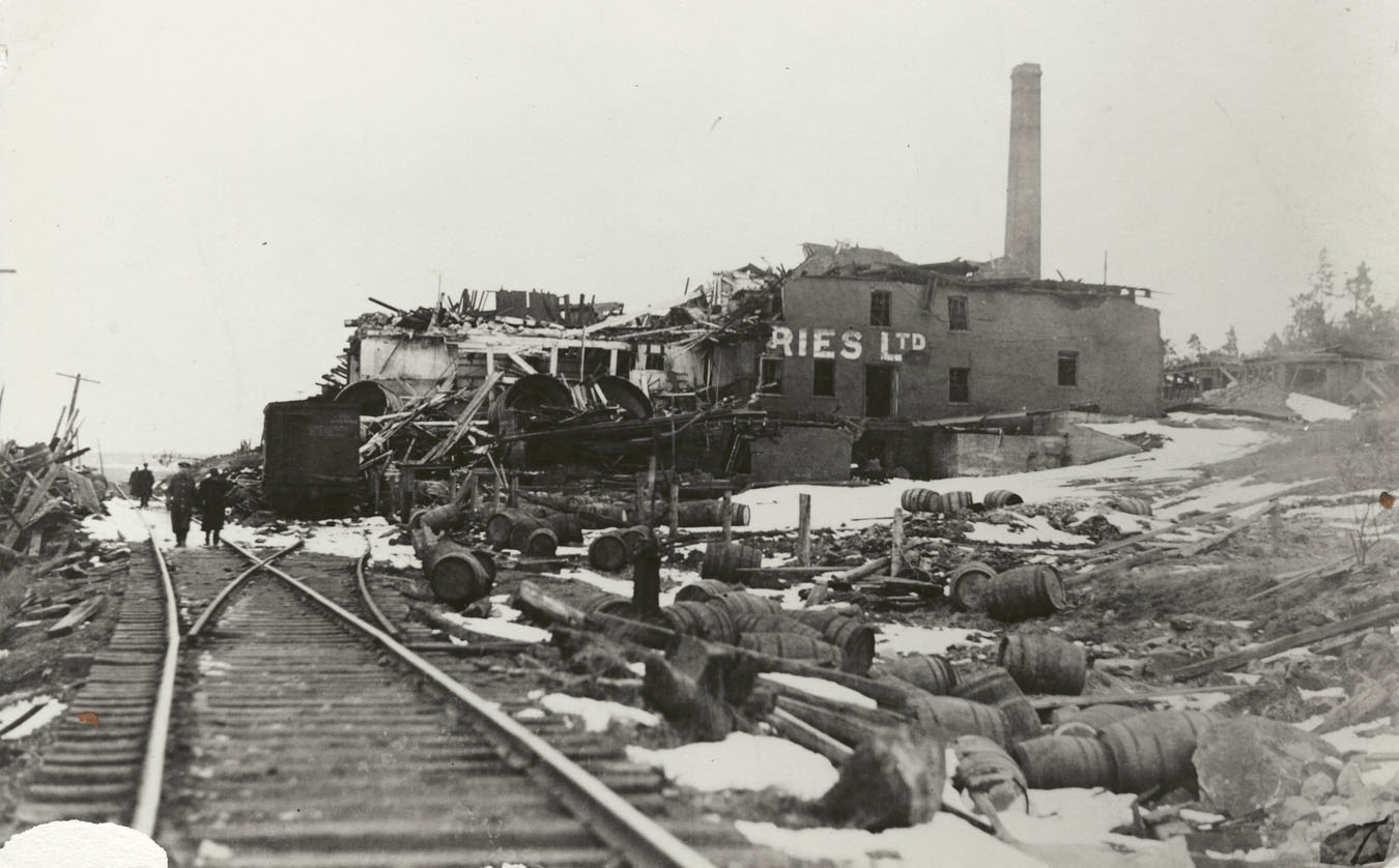 Explosion : Ruins of Army & Navy Brewery operated by Halifax Breweries Limited at Turtle Grove, Dartmouth