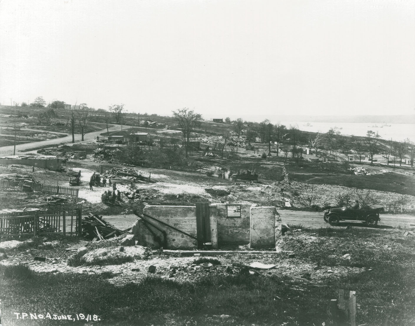 Looking north from Acadia Square towards Duffus Street showing clean-up prior to reconstruction