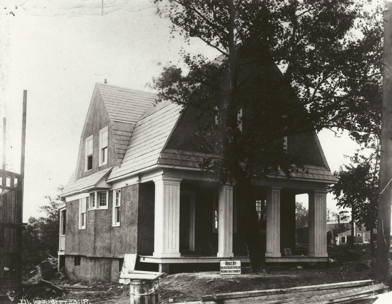 House under construction, 58 Young Street, Halifax, job 1001, built by Halifax Relief Commission, Reconstruction Department