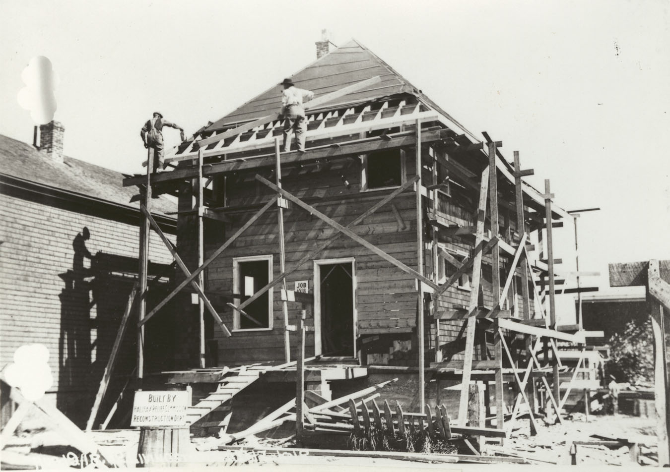 Wooden houses under construction, 18 and 42 Livingstone Street, Halifax