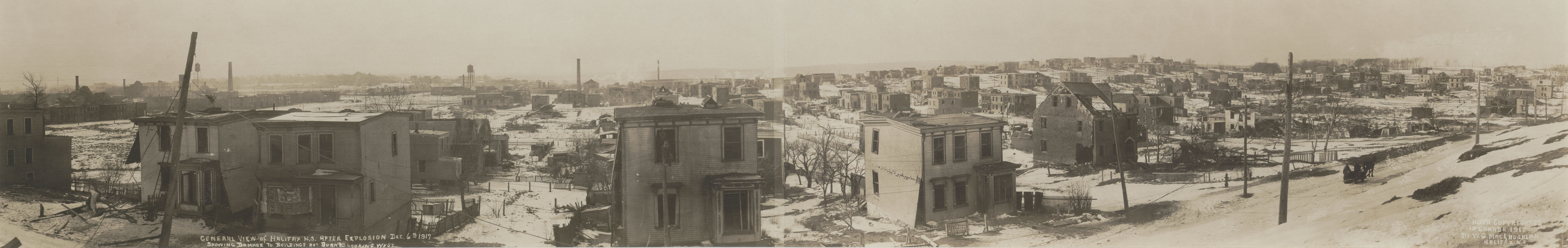 Explosion : General view of Halifax, N.S., after explosion, Dec. 6th 1917 showing damage to buildings not burned looking west