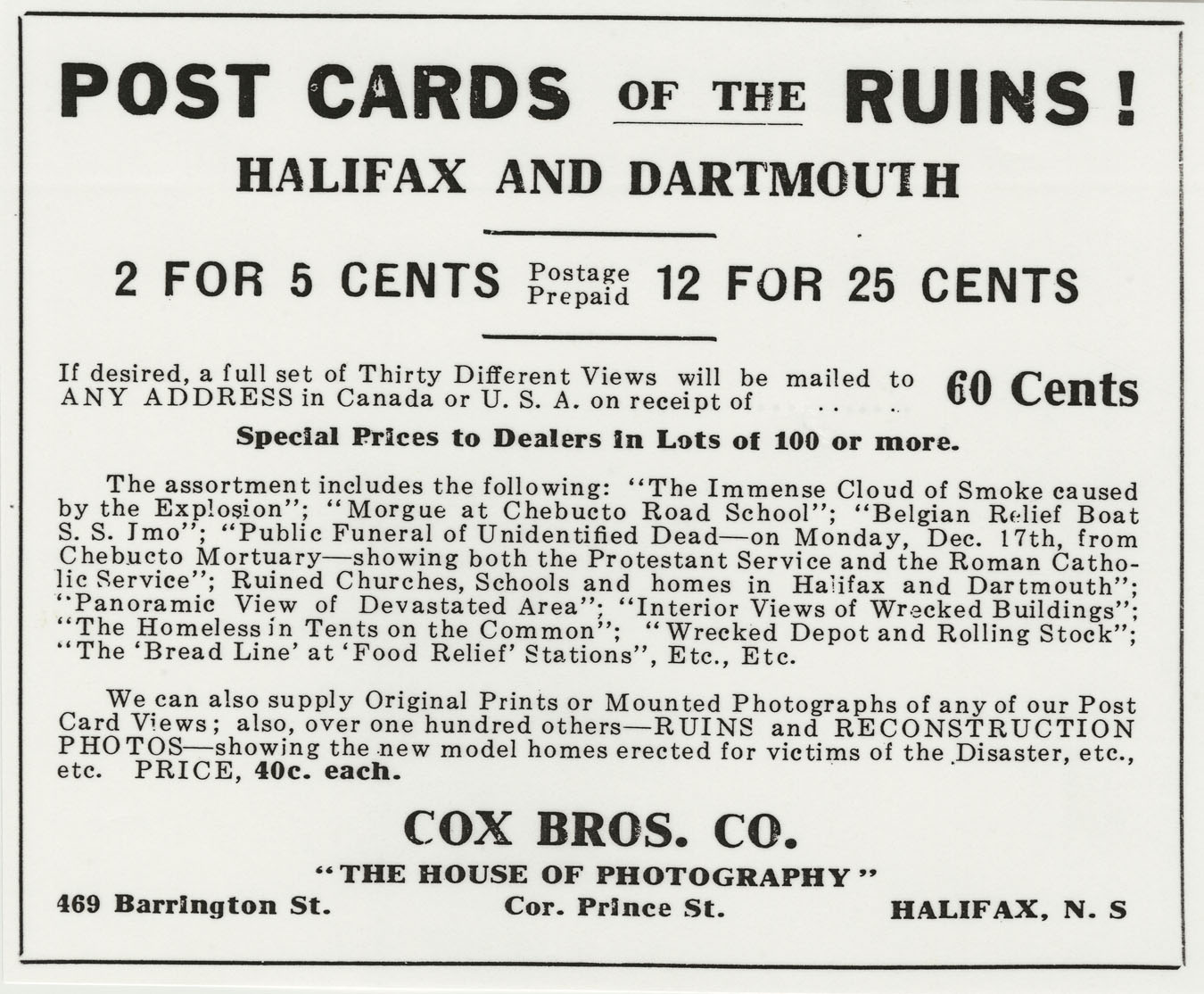 Advertisement for Cox Bros.' postcards of the devastation