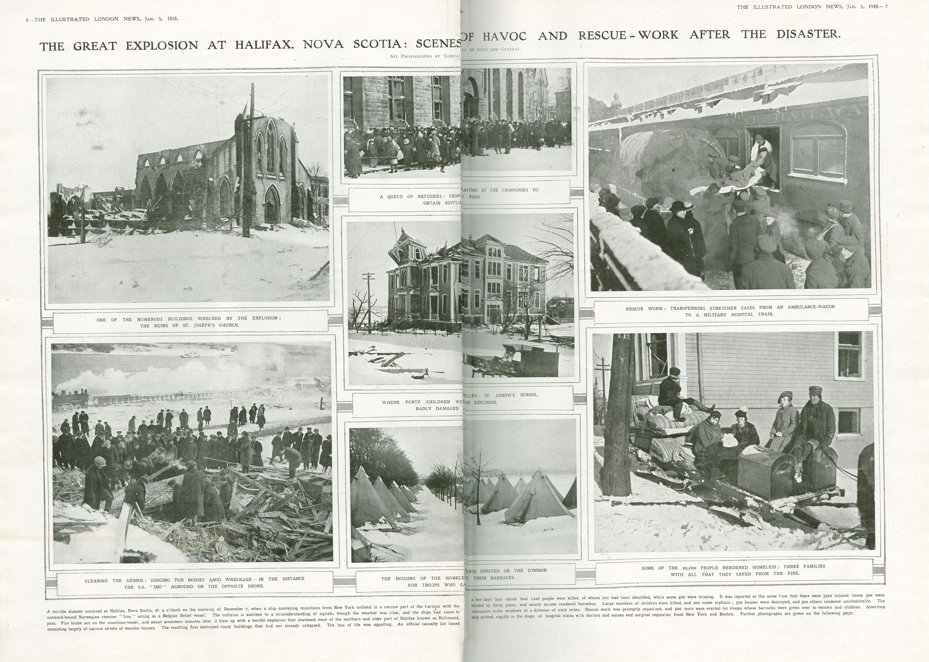 Explosion : The great explosion at Halifax, Nova Scotia:  scenes of havoc and rescue-work after the disaster