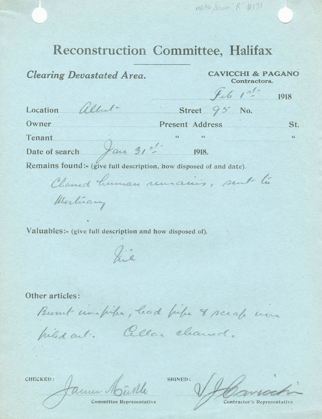 Report on the clean-up of 95 Albert Street, submitted by Cavicchi and Pagano, contractors, to the Reconstruction Committee, Halifax