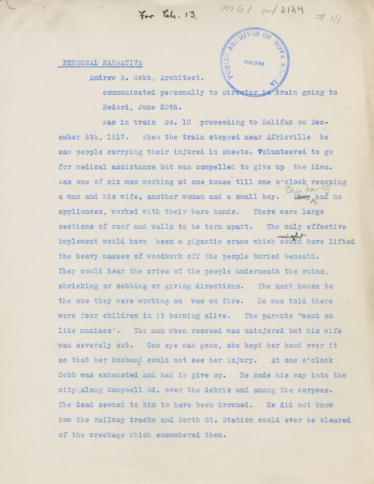 'Personal Narrative' given by Andrew Cobb, 20 June 1918 to Archibald MacMechan, Director, Halifax Disaster Record Office