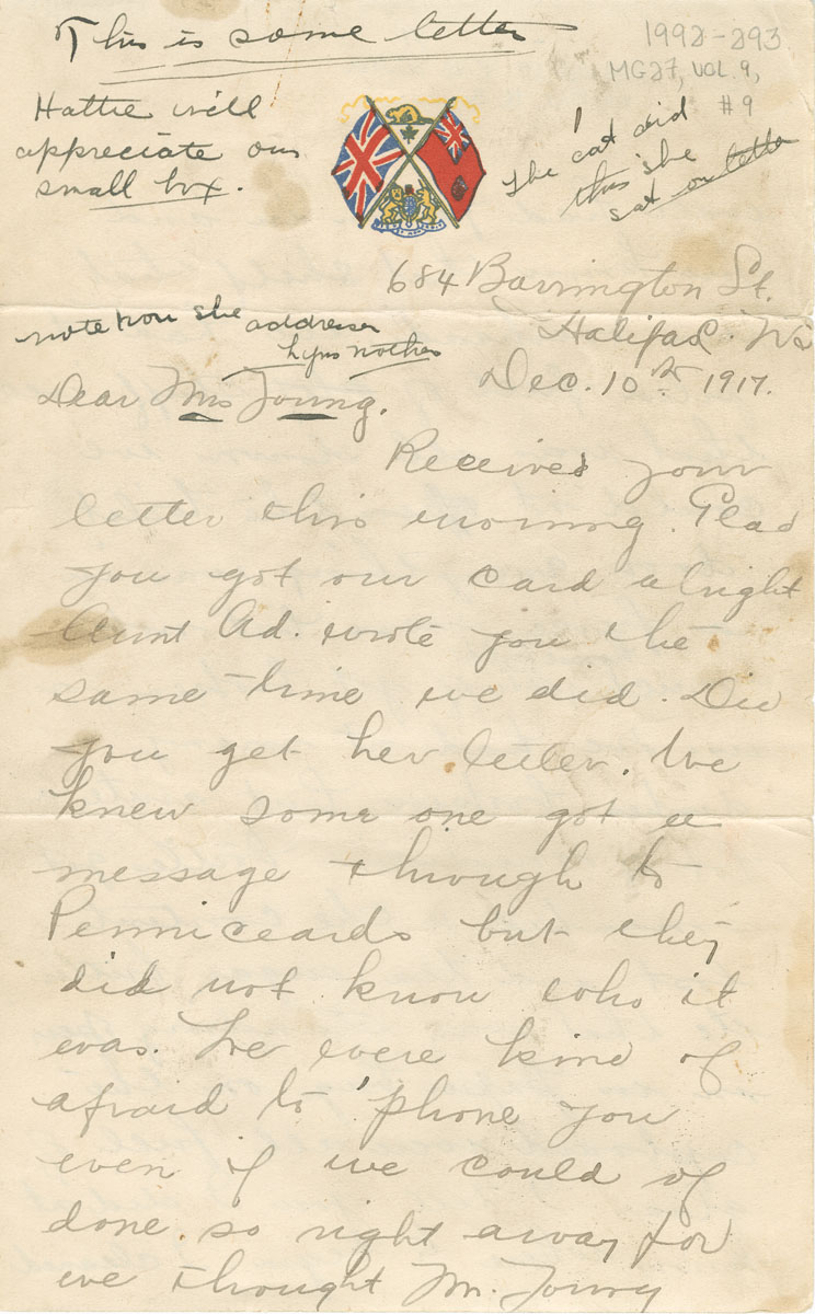 Explosion : Hattie Young, Halifax, to Mrs. Young, 10 December 1917