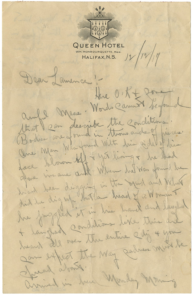 Explosion : Letter from Chester Brown to Lawrence, 12 December 1917