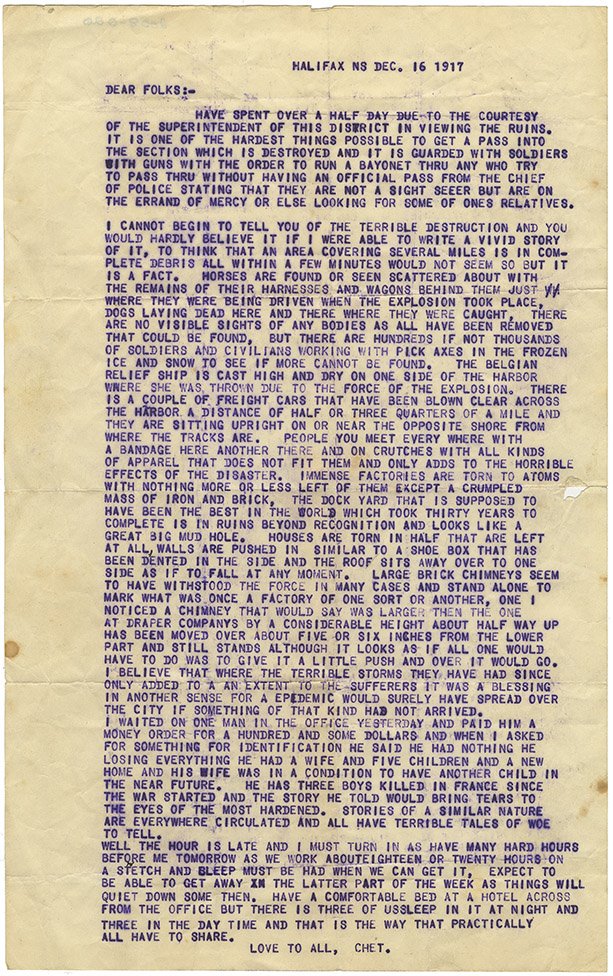 Explosion : Letter from Chester Brown to Folks in United States, 16 December 1917