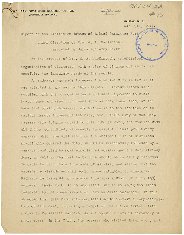 Explosion : Report of the Visitation Branch of Relief Committee Work by Mrs. G.A. McKintosh assisted by Salvation Army Staff