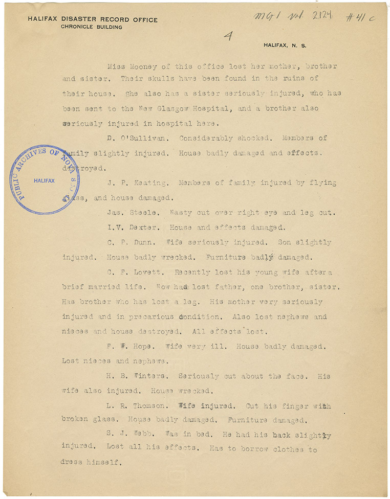 Memorandum for B.M. Armstrong, Controller, R.M.S. Ottawa from Office Supt. R.M. Services, Halifax, N.S. December 13, 1917