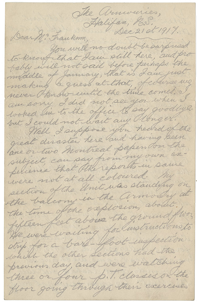 Explosion : Letter from Pte. J. Settle, Halifax to Mr. F. Frankum, Montreal, 21 December 1917