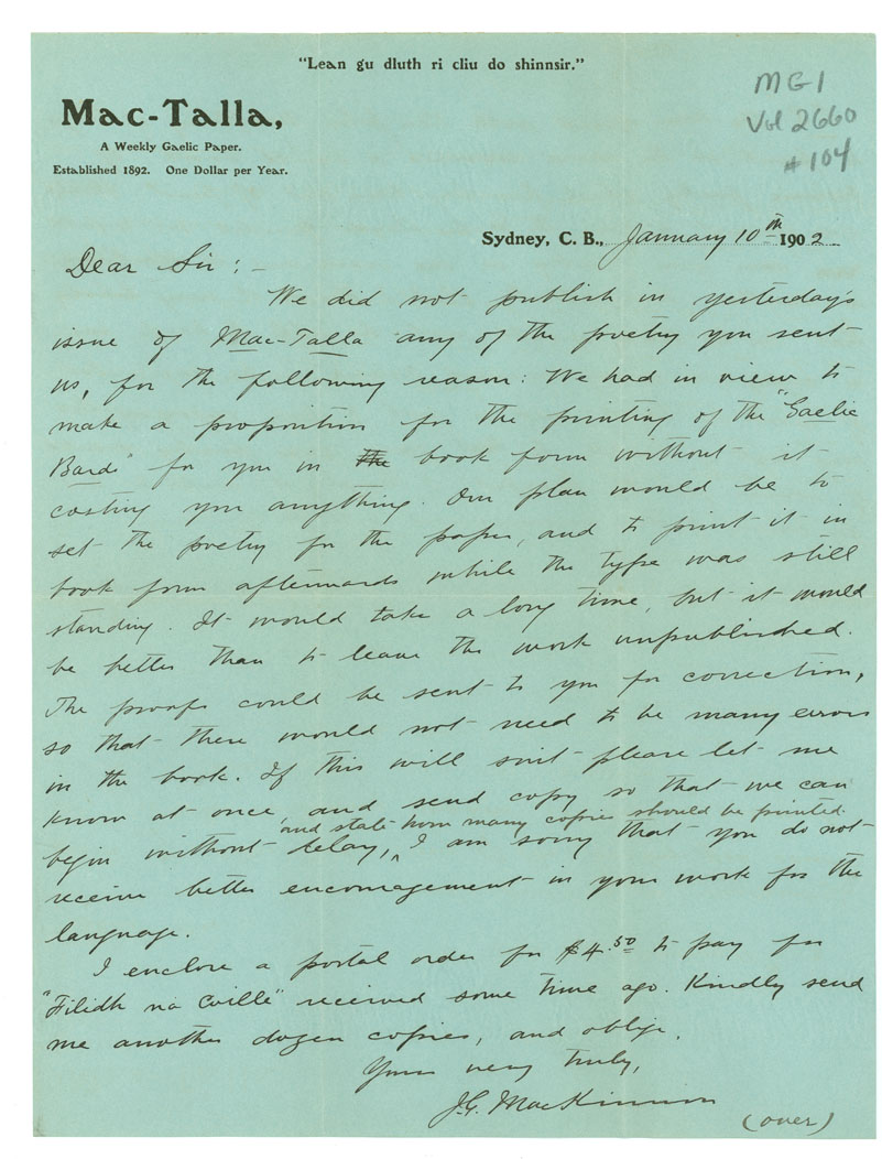 Letter from J. MacKinnon, Sydney, Cape Breton