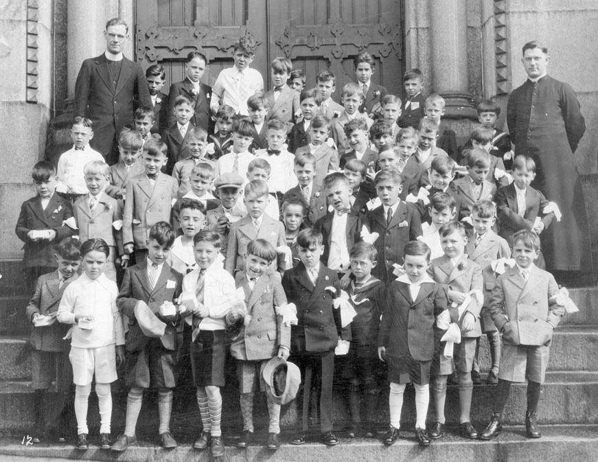 First Communion – Group of Boys and Priests on the Steps of St. Mary's Cathedral, Halifax, 1930