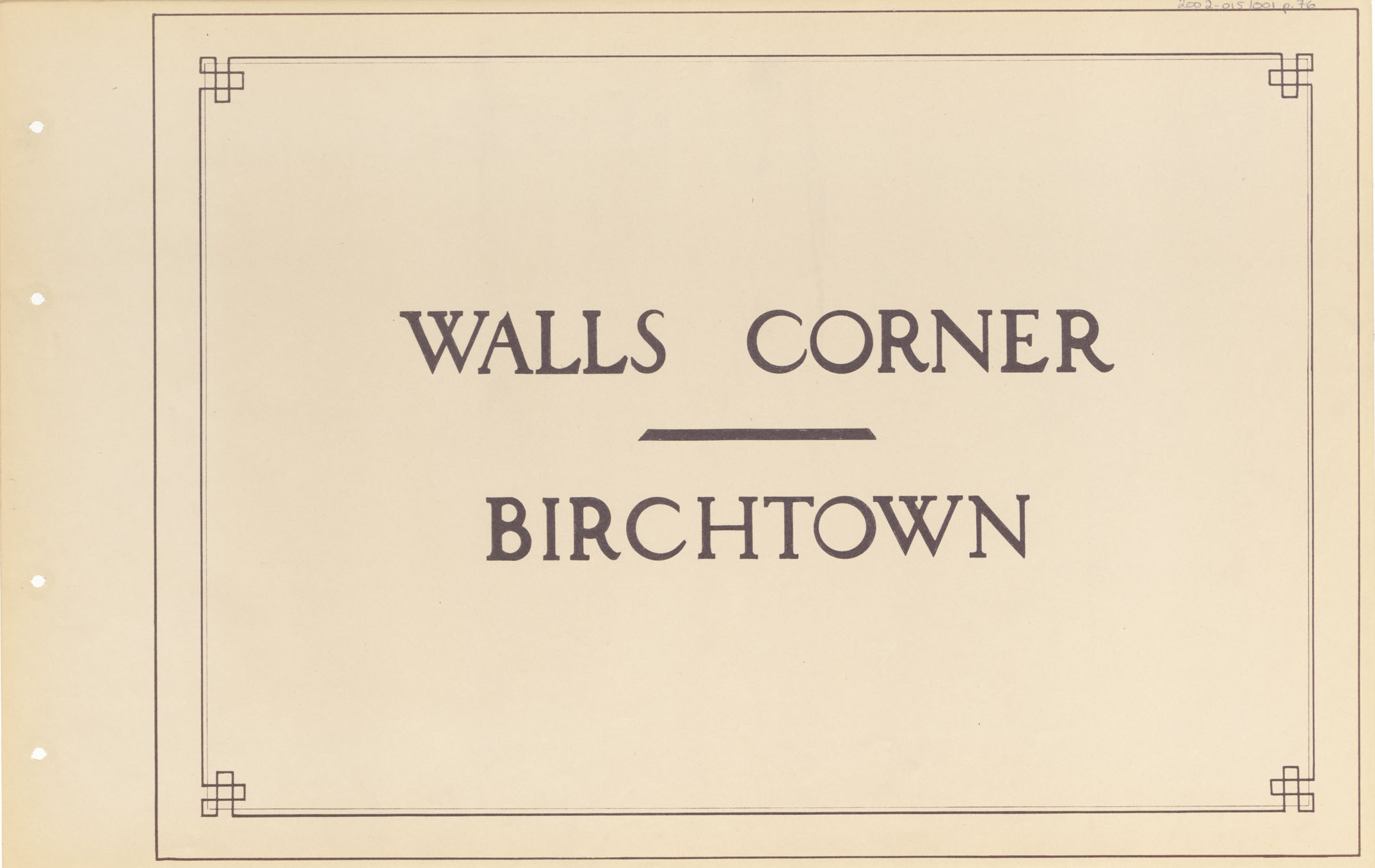Highways : Walls Corner - Birchtown
