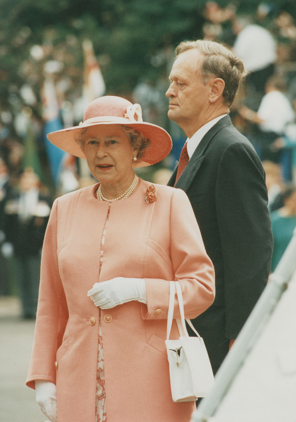 Queen Elizabeth with Prime Minister Jean Chretien at the Grand Parade, Halifax